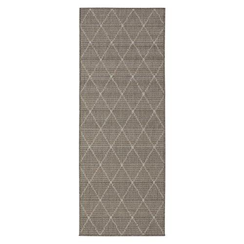 Ottomanson Jardin Collection Contemporary Trellis Design Indoor/Outdoor Jute Backing Synthetic Sisal Runner Rug, 2'7″ x 7'0″, Grey