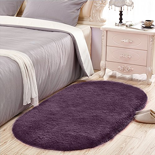 Sanmu Soft Velvet Silk Rugs Simple Style Modern Oval Shaggy Carpet