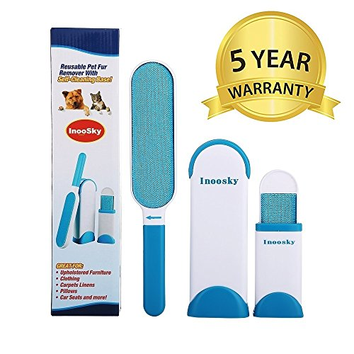 InooSky Pet Fur & Lint Remover, Dog Hair Remover and Cat Hair Remover with Self-Cleaning Base