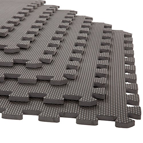 Foam Mat Floor Tiles, Interlocking EVA Foam Padding by Stalwart – Soft Flooring for Exercising, Yoga, Camping, Kids, Babies, Playroom – 6 Pack, 24 x 24 x 0.375 inches, Gray
