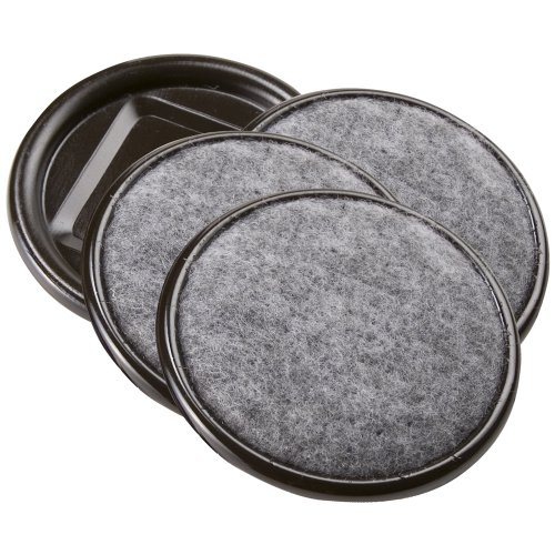 SoftTouch 4291295N Furniture Caster Cups Round with Carpeted Bottom for Hard Floor Surfaces 4 Piece, 2-1/2″, Grey