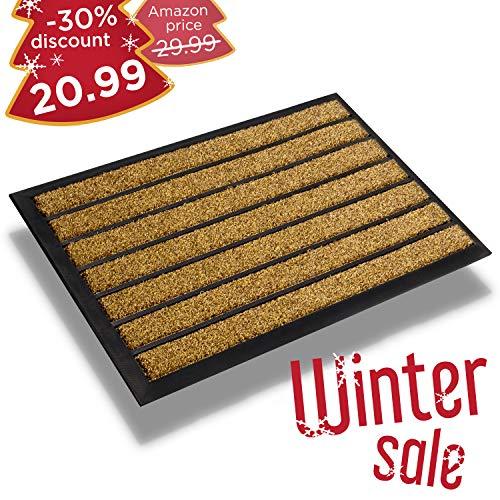 Extra Durable Striped Doormat Outdoor – Inside/Outside Doormat – Rubber Doormat Indoor – Non-Slip Waterproof Doormat Rug 30 x 17 – Back And Front Door Mat – Easy Clean Entrance Door Mat