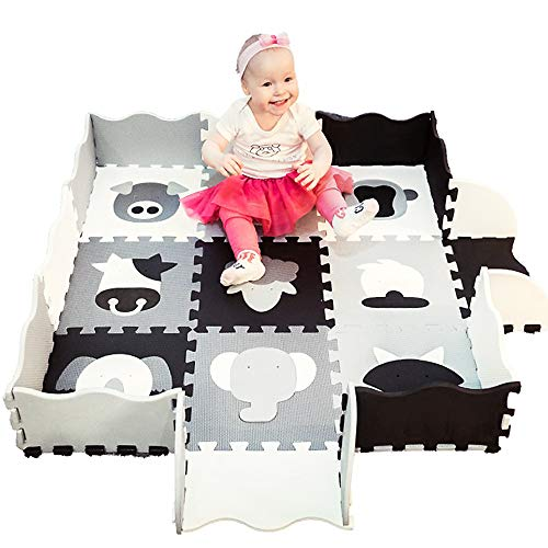 Play Mat for Babies with Fence   22 pieces Extra Thick   Puzzle Play Foam Tiles   Crawl Mat with carry bag. Black White Grey Animals. Modern Nursery Design, Tummy Time, Safe Exercise for kids Playroom
