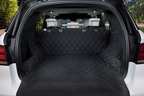 80 x 52 Black, Quilted Waterproof Machine Washable & Nonslip Backing With Bumper Flap Protection- For Cars, Trucks & SUVs – BarksBar Luxury Pet Cargo Cover & Liner For Dogs
