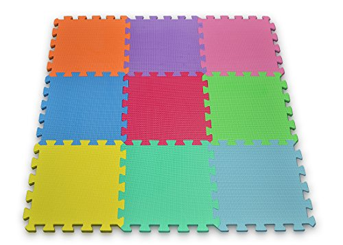 Matney Foam Mat Puzzle Pieces Play Mat Set – 9 Tile Pieces – Great for Kids to Learn and Play