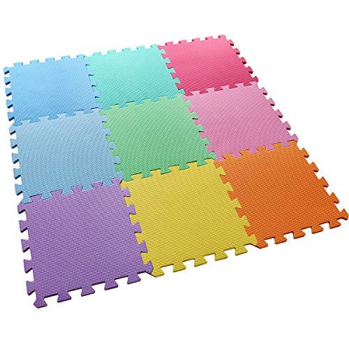 feet'sbook Puzzle Mat 9 Colors Foam Gym Exercise Flooring Baby Kids Playmat,Interlocking Squares Tiles,Waterproof,Reduces Noise,Non-Slip,Non BPA