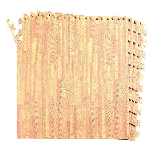 16-SQFT Wood Grain Floor Mat Oak Playmat 4-tile Interlocking EVA Foam with 8-border by Poco Divo