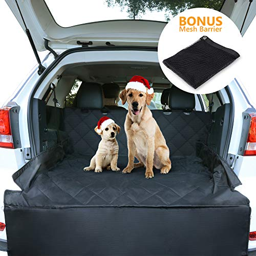 CCJK Pet Cargo Cover & Liner Dog, Waterproof Machine Washable & Nonslip Backing Free Pet Barrier Universal Fit Cars SUV Trucks,Underside Grip,Durable,Large Back Seat Cover ProtectorBlack,L