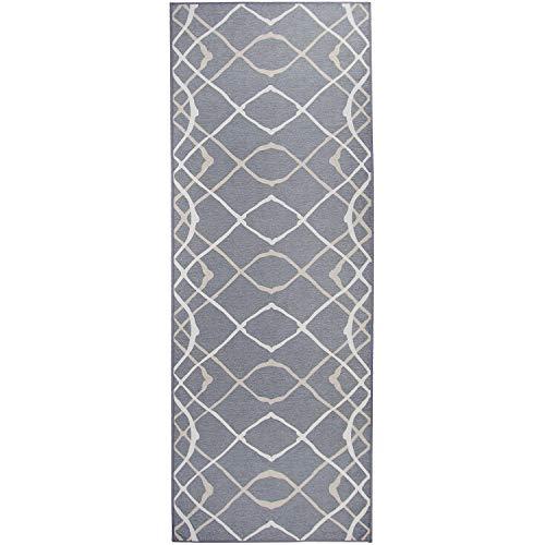 RUGGABLE Washable Stain Resistant Pet Dog Runner Rug for Indoor/Outdoor – Amara Grey 2.5′ x 7′ Runner Rug Set