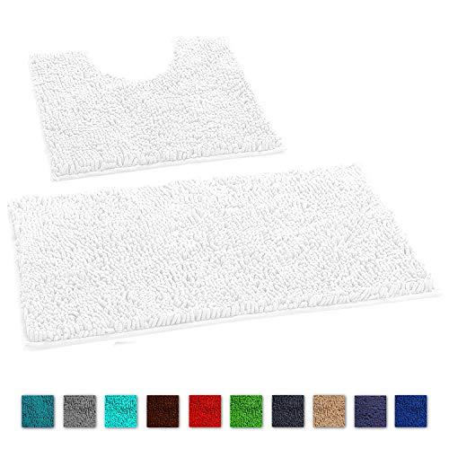LuxUrux 2 Piece Bath Mat Set –Extra-Soft Plush Bath Shower Rug + Toilet Mat Carpet. 1'' Microfiber Material, Super Absorbent Shaggy Mud Dirt Doormat. Rectangular Set, Green Curved Set, White
