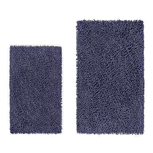 "LuxUrux Bathroom Rug Mat –Extra-Soft Plush Bath Shower Bathroom Rug,1"" Chenille Microfiber Material, TPR Surface, Super Absorbent. Machine Wash & Dry Rectangular Set, Dark Blue"