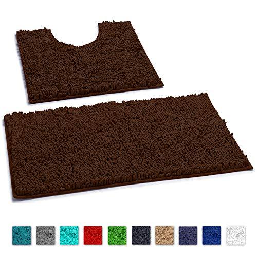 "LuxUrux Bathroom Rugs Luxury Chenille 2-Piece Mat Set, Soft Plush Shower Rug + Toilet Mat. 1"" Microfiber Shaggy Carpet, Super Absorbent mats, Machine Washable Bath Mats,Curved Set, Brown"