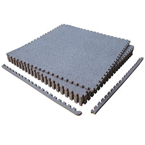 LaFamille Interlocking Foam Floor Mat 6 Tiles 24 sq.ft Puzzle Carpet Flooring Exercise Square Mats Gym,Playroom Floor Mats for Carpet 2'x2′ Light Grey