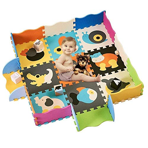 HAN-MM Baby Foam Mat with Fence Non Toxic Crawl Mat Baby Tiles Play Puzzle Mat with Softer Thicker EVA Foam Mat for Kids Toddlers Babies Playrooms/Nursery Tummy Time and Crawling Style 141