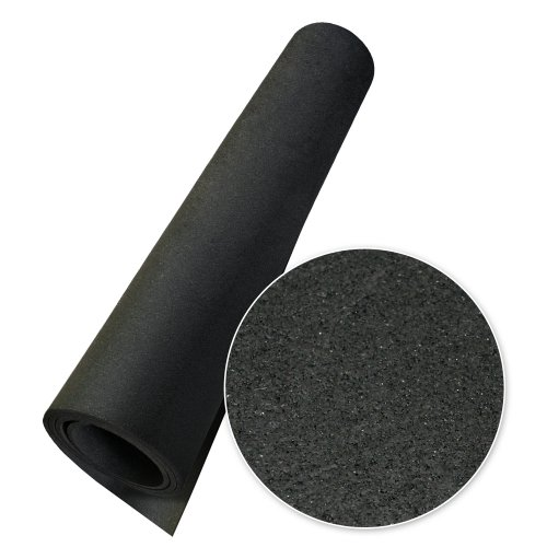 Rubber-Cal Elephant Bark Flooring, Black, 3/8-Inch x 4 x 4.5-Feet