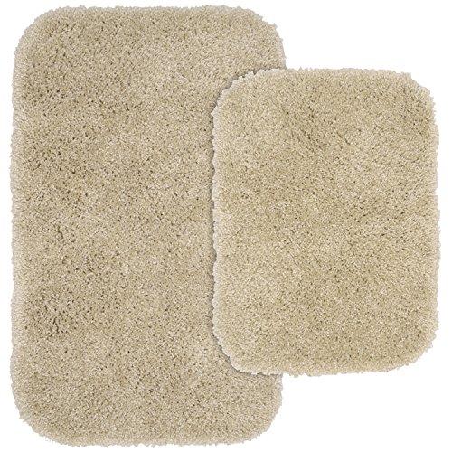 Garland Rug 2-Piece Serendipity Shaggy Washable Nylon Bathroom Rug Set, Linen