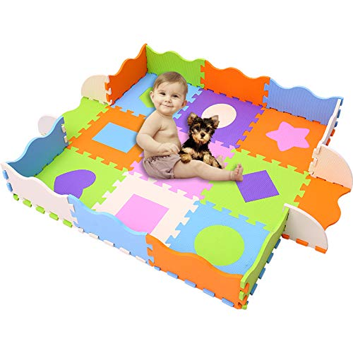 HAN-MM Baby Foam Mat with Fence Non Toxic Crawl Mat Baby Tiles Play Puzzle Mat with Softer Thicker EVA Foam Mat for Kids Toddlers Babies Playrooms/Nursery Tummy Time and Crawling Style 34