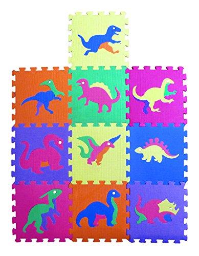 Liberty Imports Dinosaur Zoo Educational Foam Puzzle Floor Mat for Kids + 10 Piece 12″x12″ Squares Blocks