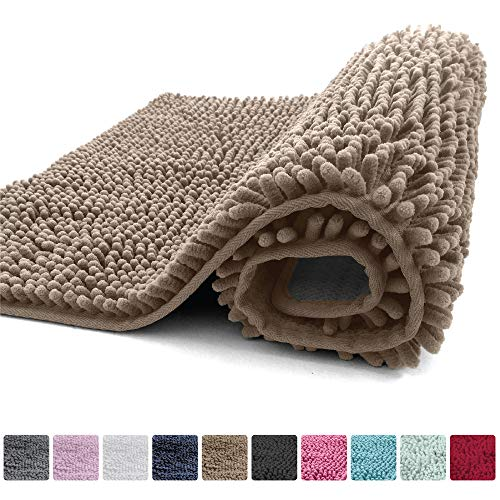 Kangaroo Plush Luxury Chenille Bath Rug 30×20 Extra Soft and Absorbent Shaggy Bathroom Mat Rugs, Machine Wash/Dry, Strong Underside, Plush Carpet Mats for Children's Tub Shower & Bath Room Beige