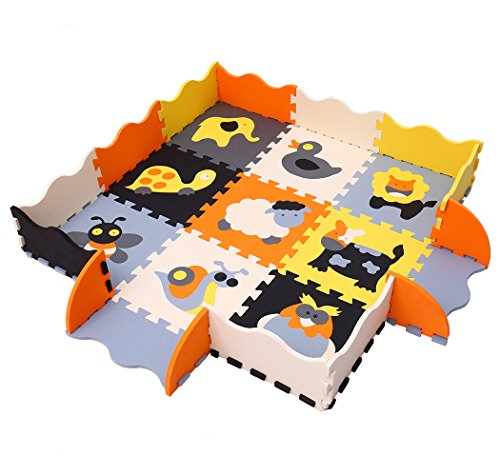 MQIAOHAM Multicoloured Puzzle Mat 9pcs with Fence for Kids Play Area | Interlocking EVA Foam Mats | Play Rug for Children | Puzzle Playmat with Animals Shapes Animals and Pets Pop-Out P011B3010