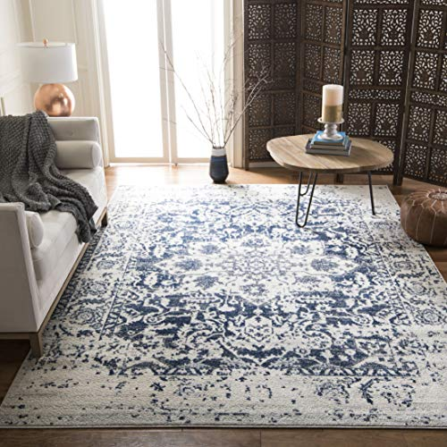 Safavieh Madison Collection MAD603D Cream and Navy Distressed Medallion Area Rug 8′ x 10′