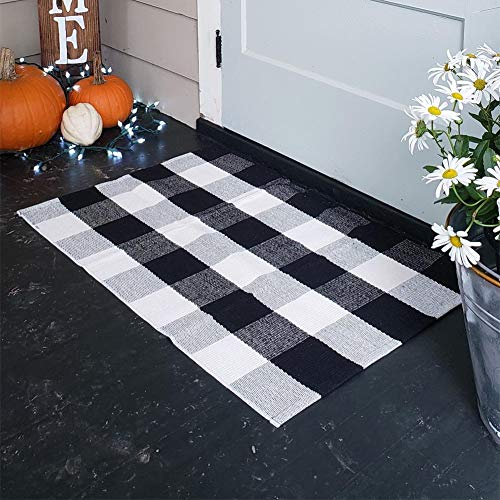 "100% Cotton Plaid Rugs, Buffalo Check Rug, 23.6""x35.4"", Checkered Outdoor Rug, Outdoor Plaid Doormat for Kitchen/Bathroom/Laundry Room/Bedroom Black and White Porch Rugs"