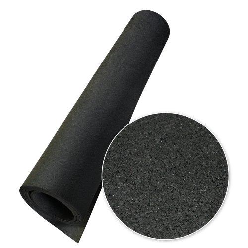 "Rubber-Cal ""Elephant Bark Rubber Flooring – Black – 3/8 inch x 4ft. x 2ft. Rubber Mat"