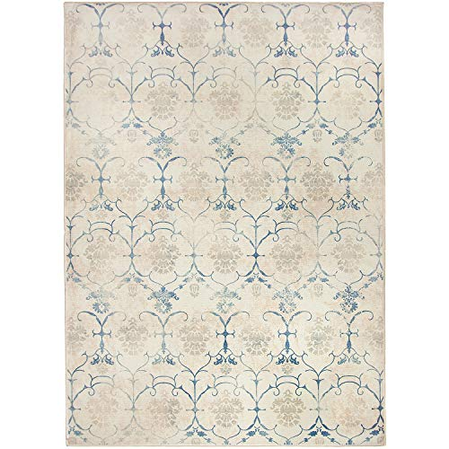 RUGGABLE Washable Stain Resistant Indoor/Outdoor, Kids, Pets, and Dog Friendly Area Rug 5'x7′ Leyla Creme Vintage