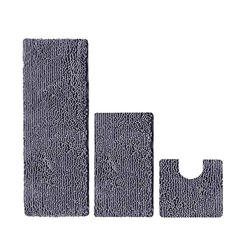 Madeals 21 x 54 Inches Long Bath Rug for Bathroom Runner Rug Non Slip Shag Chenille Bathroom Rug Set 2 Piece and U Shaped Toilet Rug Grey