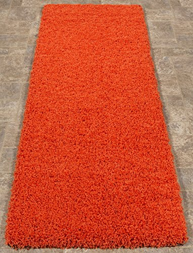 Ottomanson SHG2761-2X5 Shag Collection Area Rug, 20″ x 59″, Orange