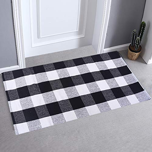 LHtrade Cotton Rug Buffalo Checkered Plaid Area Rug Bath Runner Door Mat for Entry Way Washable Bath Doormat Bedroom Carpet 24″ x 51″, Black and White Plaid Rug