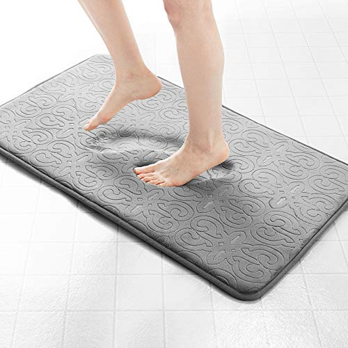 Genteele Memory Foam Bathroom Rugs Non-Slip Absorbent Bath Mat Rug Carpet, Machine Wash and Dry, Embossed Soft Velvet Plush Surface 22″ X 36″, Gray