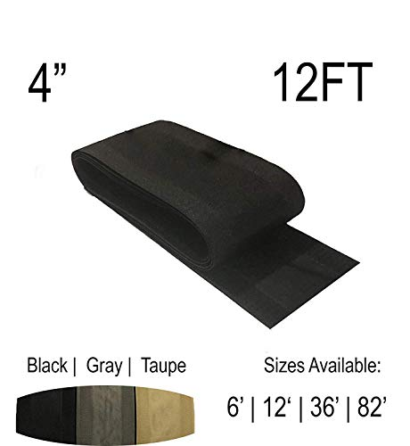 4″ ValuCord Carpet Cord Cover Black 12 Feet | Works only on Barber and Loop Style Carpet and Rugs