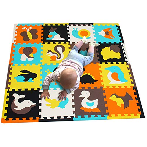 MQIAOHAM 16pcs with Long Edges Baby Soft playmat Foam Room Floor mats for Kids Girl Yoga Rug Play-mat Babe Playing Infants edu Child Animal Colorful infantino Puzzle mat JS049Z