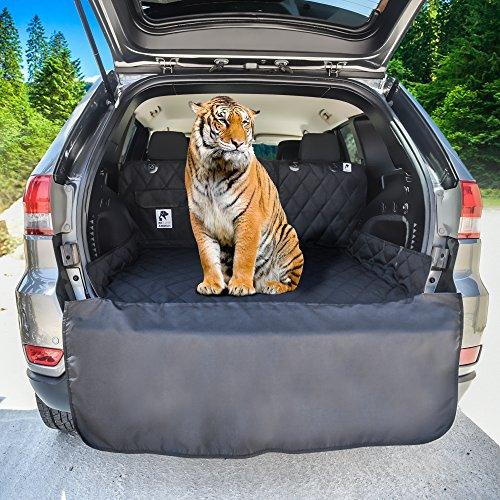 XL, Universal Fit – Dog Cargo Liner for SUV, Van, Truck & Jeep – BONUS Carry Bag – Waterproof, Machine Washable, Nonslip Pet Seat Cover with Bumper Flap will keep your vehicle as clean as ever