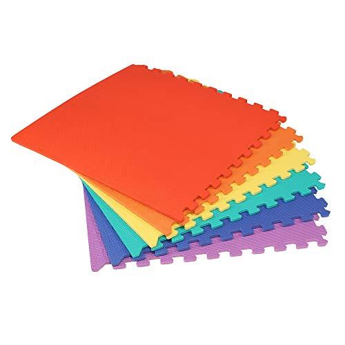 We Sell Mats 48 Sq. Ft. set of 12 + borders Anti-Fatige Interlocking EVA Foam Flooring-Set of six Multi-Color Tiles-Each 2'x2'x3/8″ Thick
