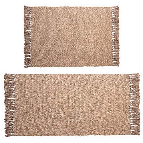 HiiARug Woven Cotton Area Rug Set of 2 Cotton Area Runner for Living Room Bedroom Bedside Carpet Machine Washable 2'x3'+2'x4'4
