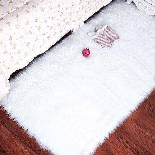LOCHAS Stylish Ultra Soft Silky Fluffy Shag Faux Sheepskin Area Rug,Rugs for Living Room Bedroom Nursery Floor,3' x 5',White