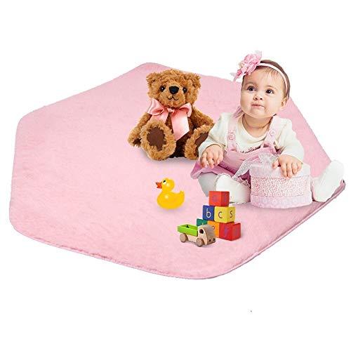 Kids Play Mat Plush Carpet Rug Hexagon Coral Play Mat for Princess Tent pink-02