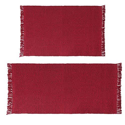 HiiARug Woven Cotton Area Rug Set of 2 Cotton Area Runner Doormat for Living Room Bedroom Bedside Carpet Machine Washable 2'x3'+2'x4'4