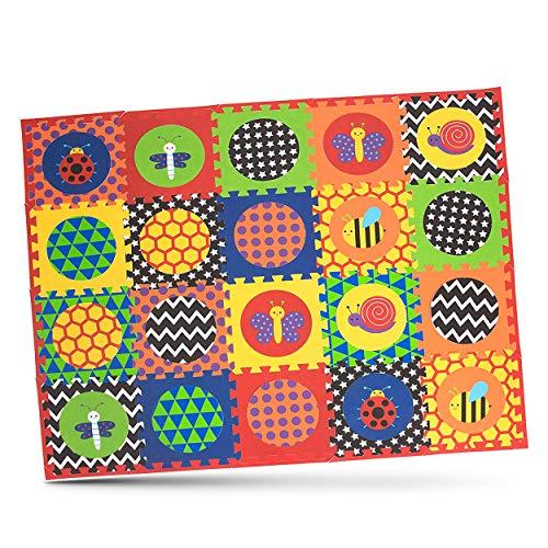 Nuby Interlocking Baby Play Mat, Foam Floor Tiles for Infants and Children, 52'' x 65″