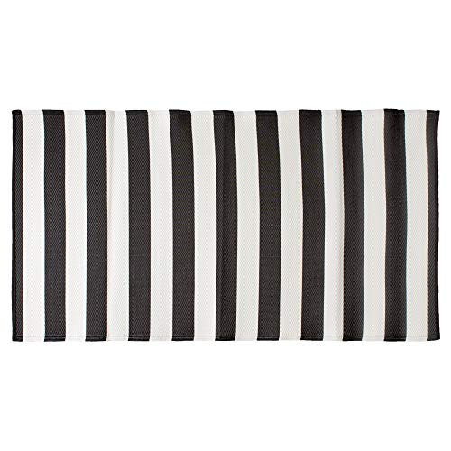 DII CAMZ11275 Stripe Outdoor Floor Runner, 3×6′, Black & White