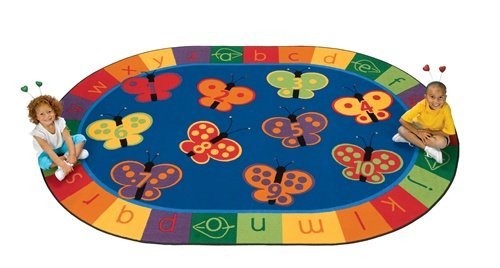 Carpets for Kids 3506 Literacy 123 ABC Butterfly Fun Kids Rug Size: Oval 6'9″ x 9'5″, Blue