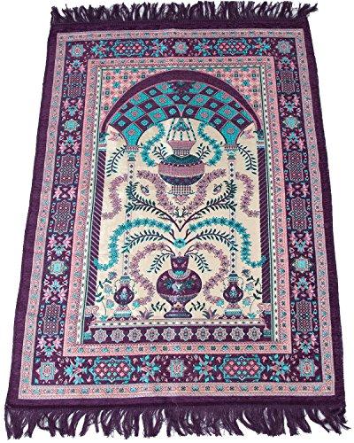 Islamic Janamaz Sajadah Namaz Sajjadah Best Quality Turkish Prayer Mat Carpet Purple – Sajda Rugs Muslim Prayer Rug