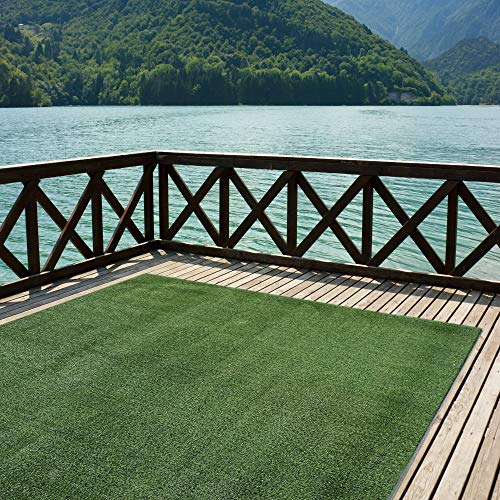 Indoor/Outdoor Turf Rugs and Runners in Green 6′ X 10′ Low Pile Artificial Grass in Many Custom Sizes and Widths with Finished Edges with Binding Tape