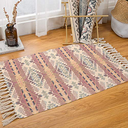 KIMODE Bohemian Cotton Area Rug,Hand Woven Print Tassels Throw Rugs Door Mat Reversible Floor Rug Indoor Area Rugs for Bathroom, Bedroom, Living Room, Laundry Room 2′ x 4.3′, Red