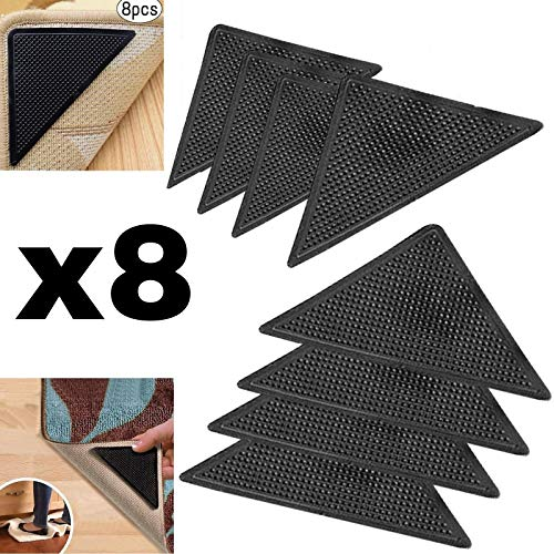 Protect Carpet Triangle Rug Grip Tape 8 pc. Set Corner Edging Adhesive Gripper | Kitchen, Hallway, and Living Room Runners, Mats, or Loose Carpet | Non-Slip Floor Protection