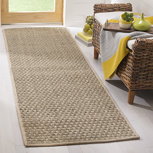 Safavieh Natural Fiber Collection NF114A Basketweave Natural and Beige Summer Seagrass Area Rug 2'6″ x 4′