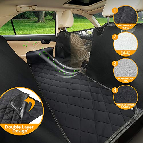 SUKI&SAMI Dog Seat Cover with Mesh Window Car Seat Cover with Hammock for Back Seat of Cars/Trucks/SUVs, Waterproof & Scratch Proof & Nonslip Backing & Machine Washable