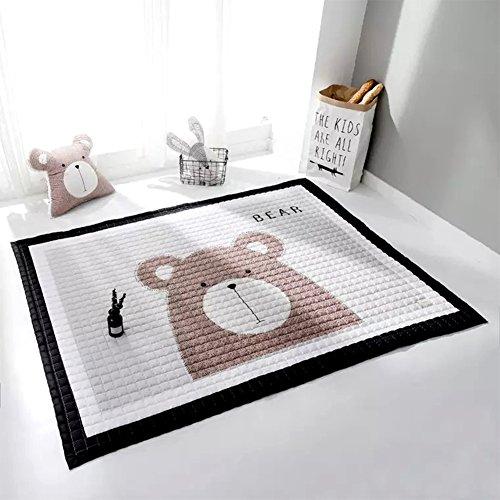 YOHA Baby Girls Play Mat Crawling Mat Rug Cartoon Kids Boys Playing Blanket Carpet Non-Slip Nursery Rugs Décor,Bear